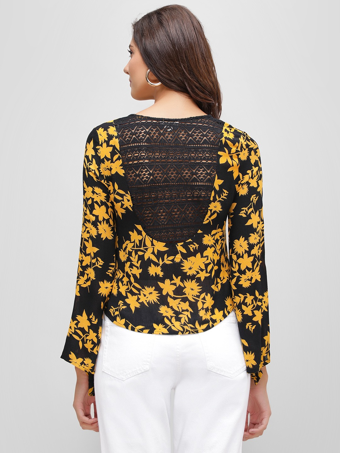 Kisscoast Multi Lace Back Floral Printed Blouse 1