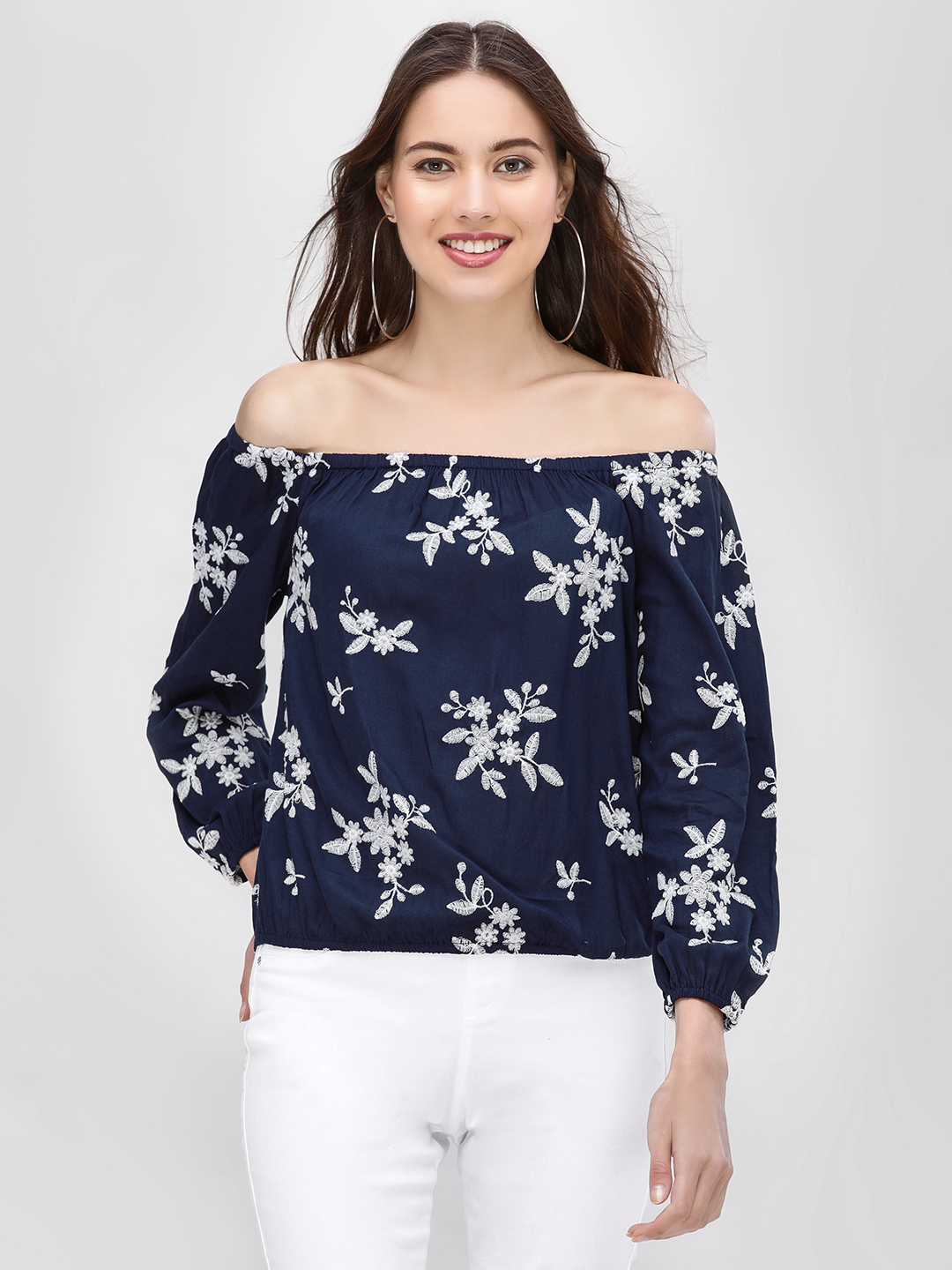 Kisscoast Navy Floral Embroidered Off-Shoulder Blouse 1