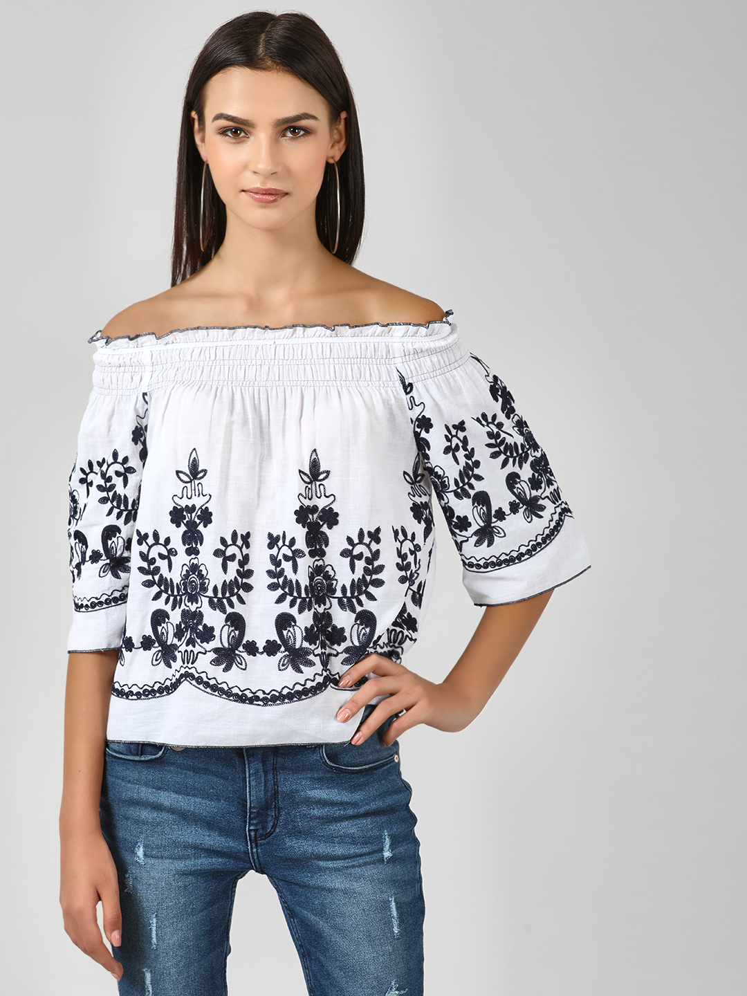 Kisscoast White Floral Embroidered Bandeau Top 1