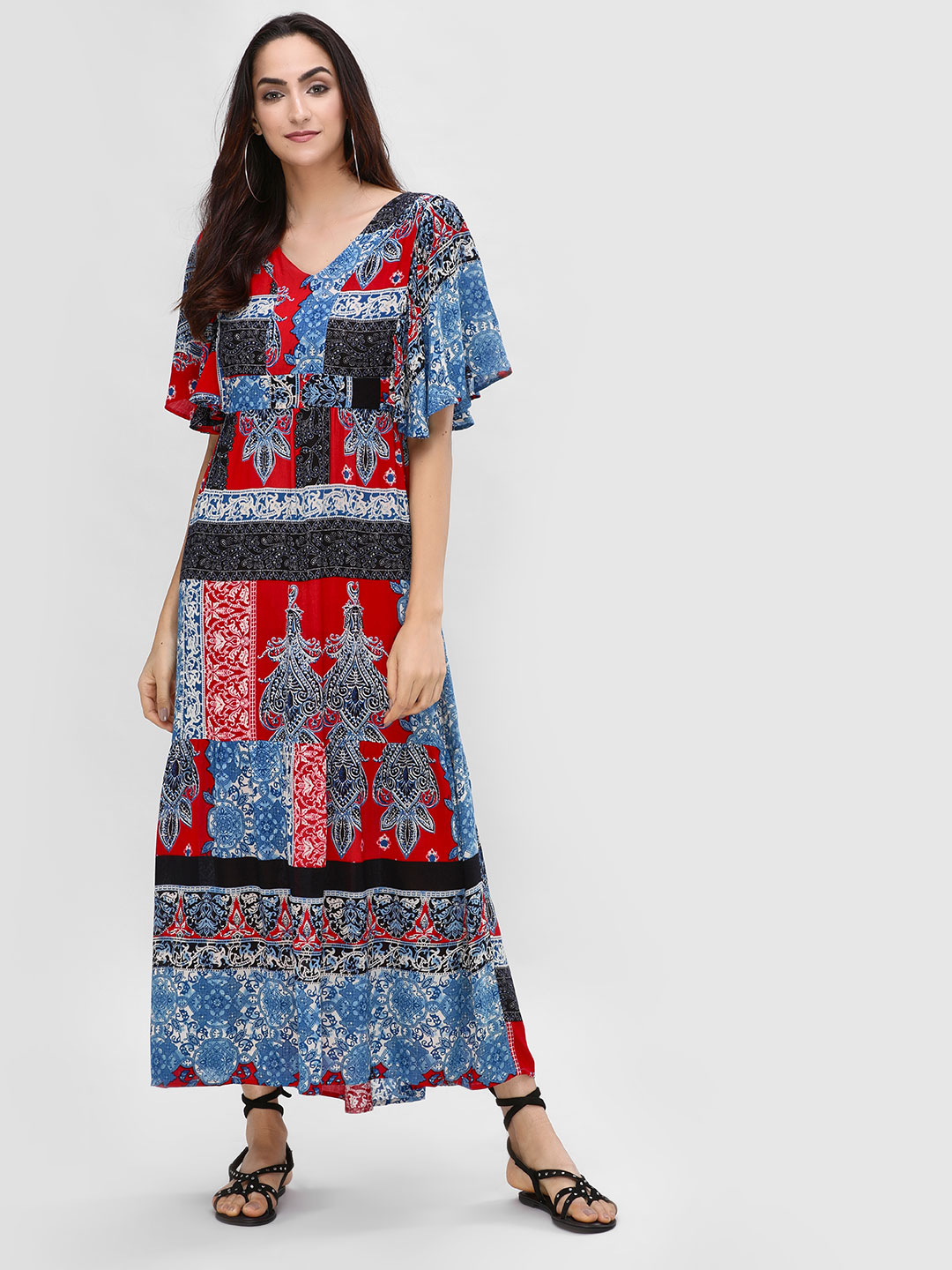 Rena Love Print Maxi Dress With Flared Sleeves 1