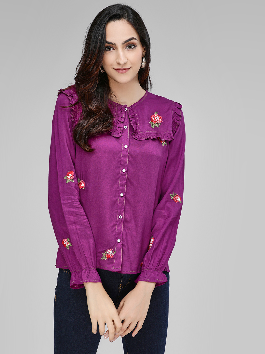 Rena Love Purple Frill Rose Embroidered Shirt 1
