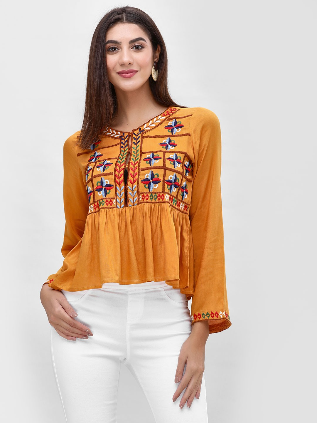 Rena Love Mustard Blouse With Embroidery 1