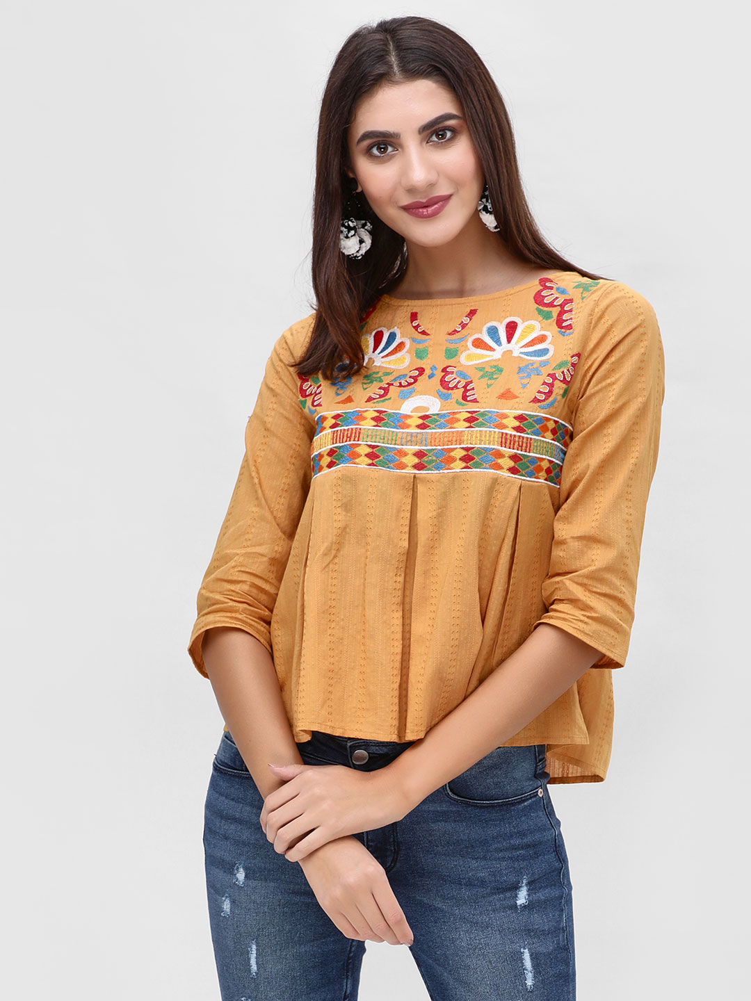 Rena Love Mustard Embroidered and Pleated Peplum Top 1