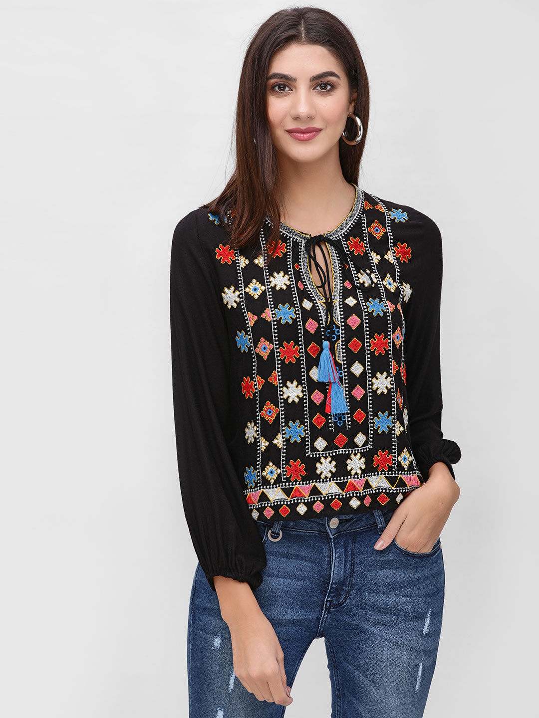 Rena Love Black Blouse With Embroidery 1