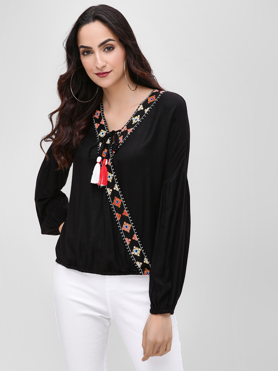 Rena Love Black Wrap Blouse With Embroidered Border 1