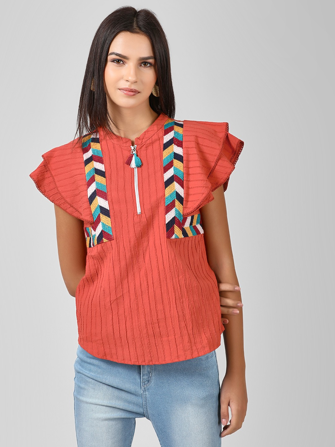 Rena Love Rust Embroidered Flared Sleeve Top 1