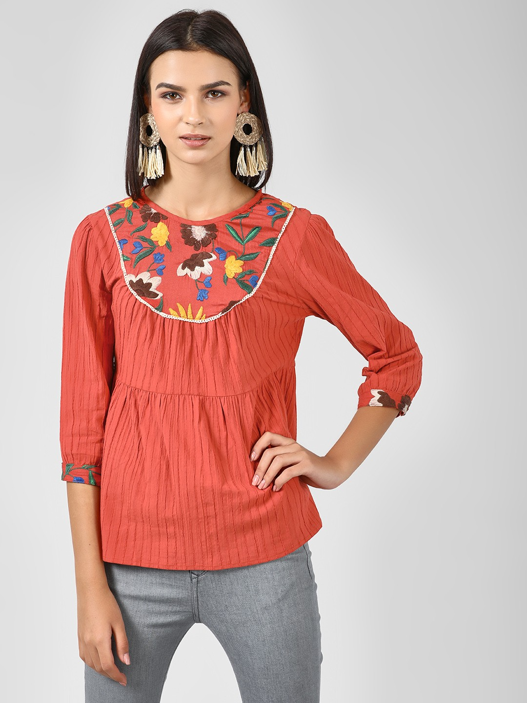 Rena Love Rust Texture Top With Embroidered Yoke 1