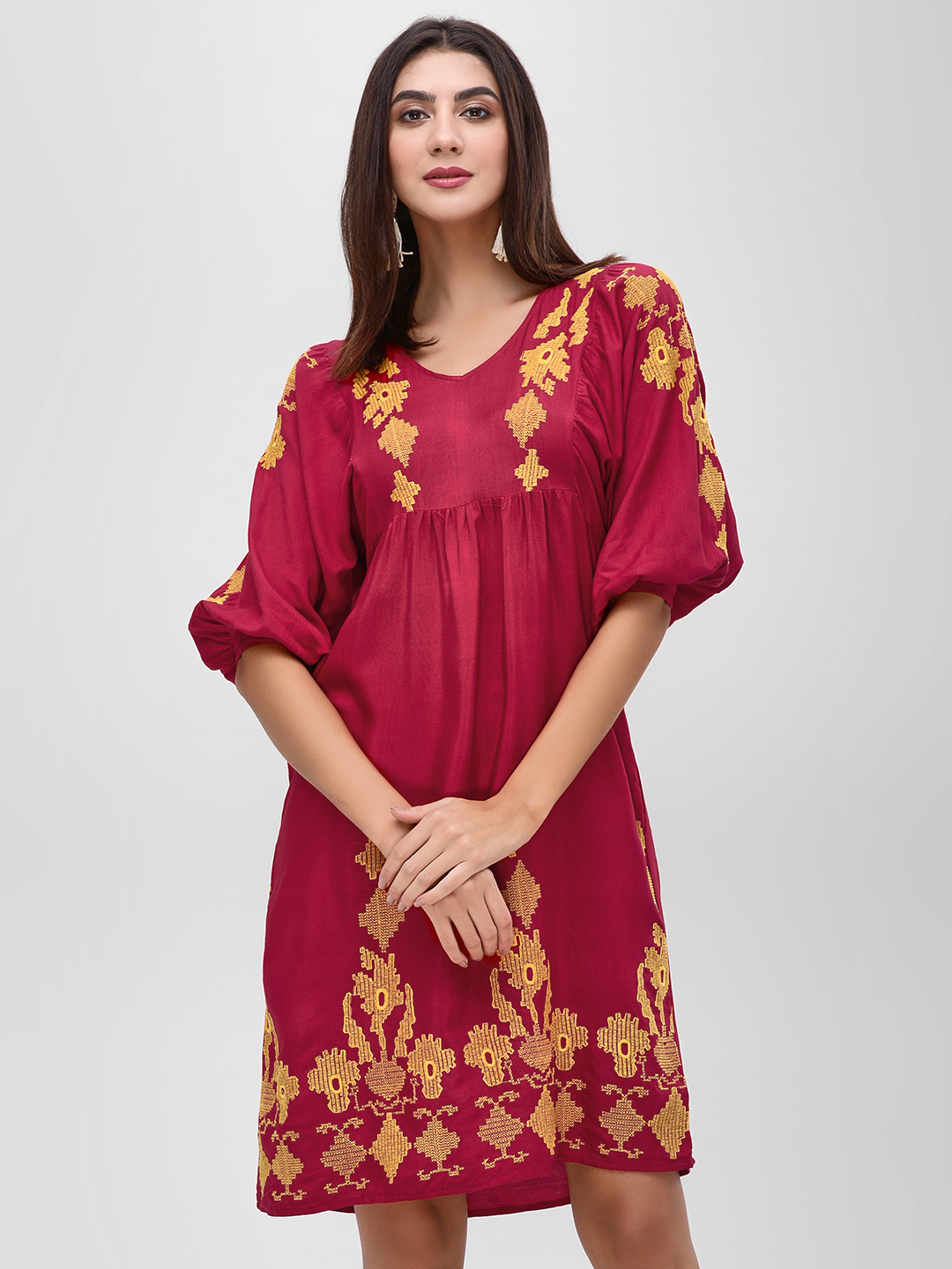 Rena Love Red Shift Dress With Embroidery 1