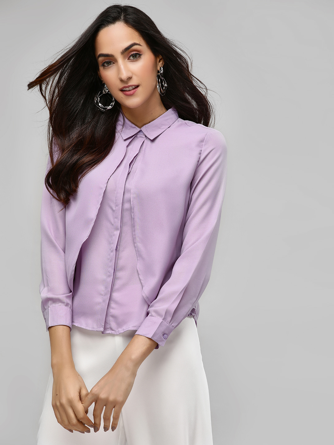 Street9 Purple Shirt With Overlap Detail 1