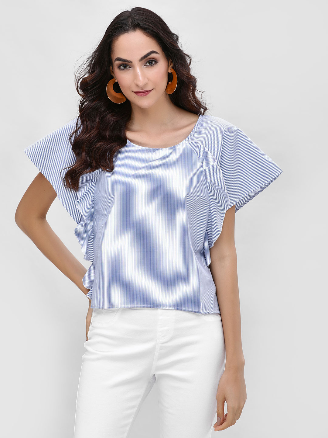 Street9 Blue Blouse With Ruffle Detail 1