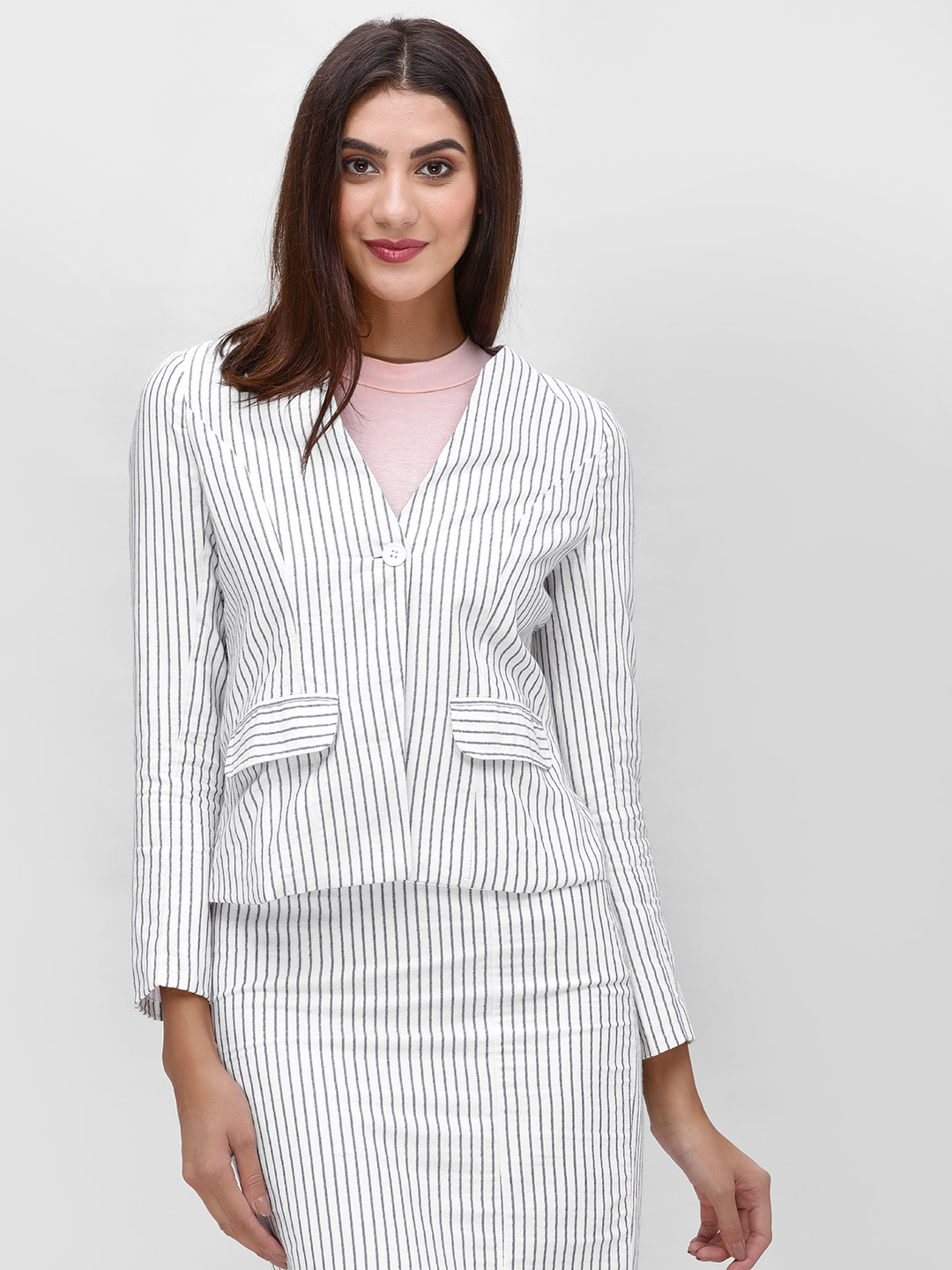 Street9 White Striped Button Front Jacket 1