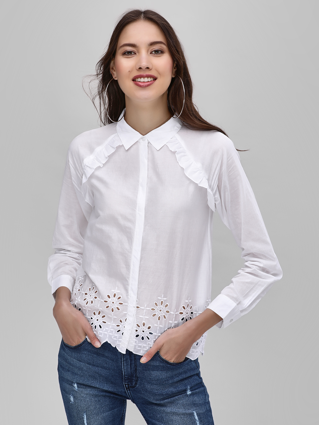 Street9 White Broderie Shirt With Ruffle Detail 1