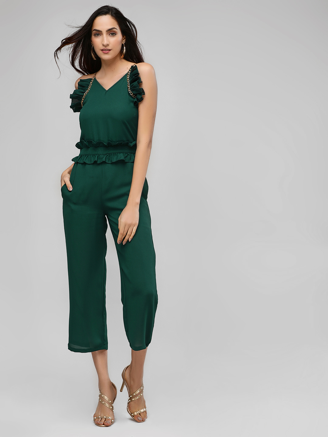 Street9 Green Ruffle Detail Strappy Jumpsuit 1