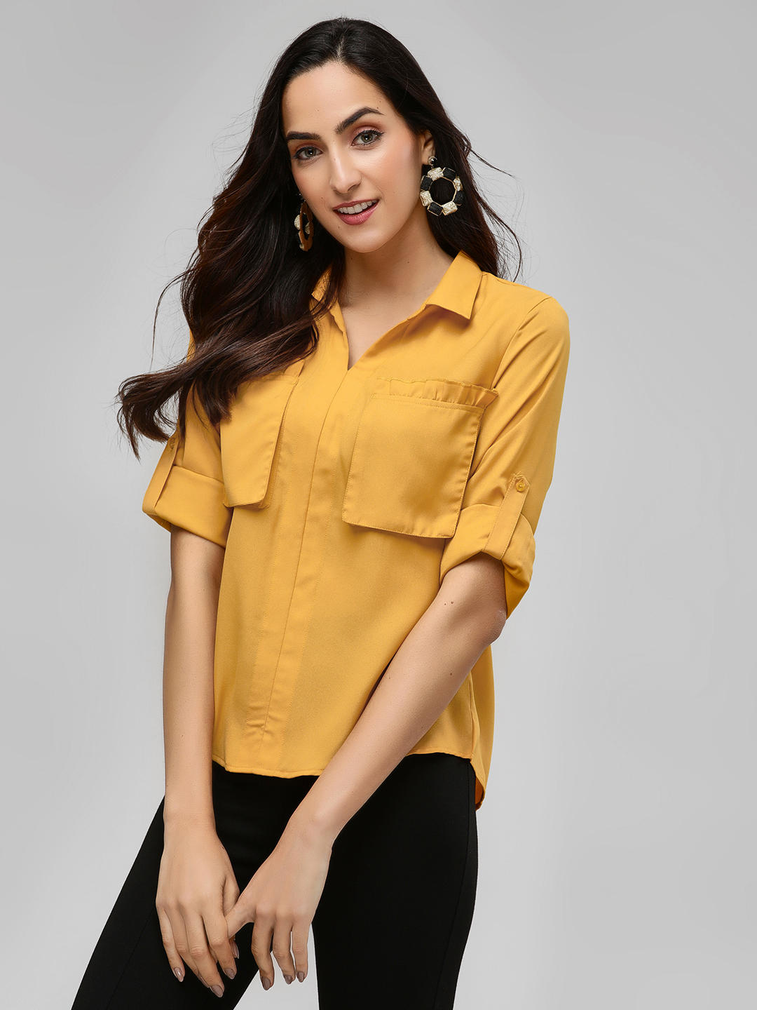 Street9 Yellow Top With Ruffle Detail On Pockets 1