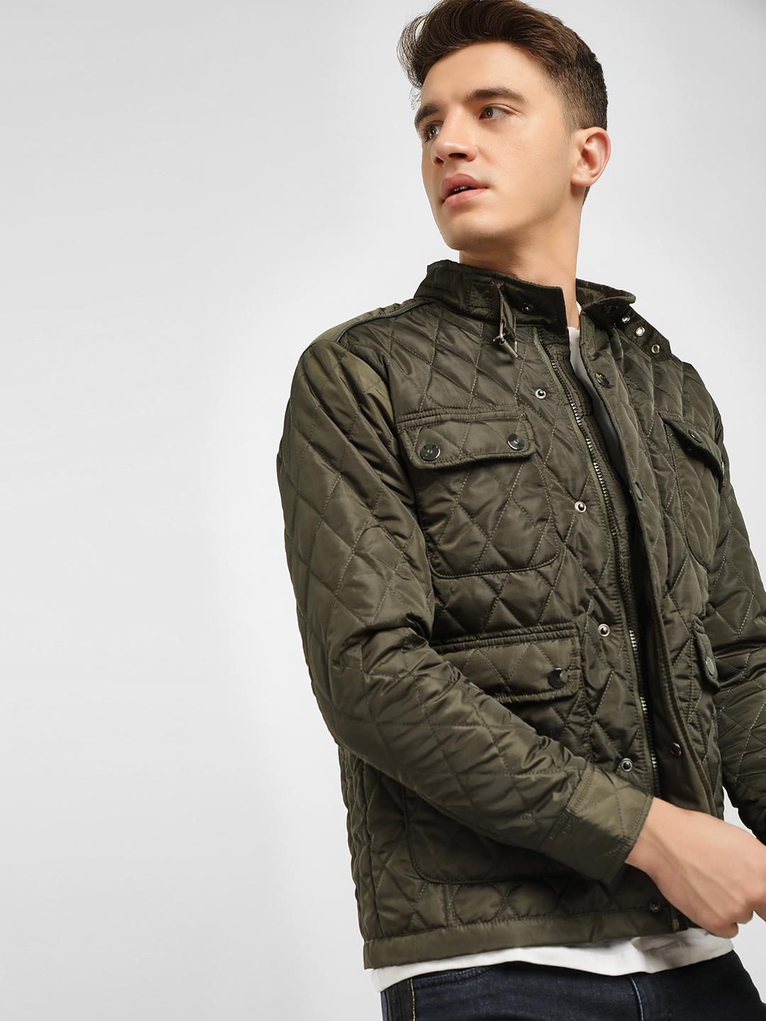 KOOVS Green Quilted Utility Pocket Jacket 1