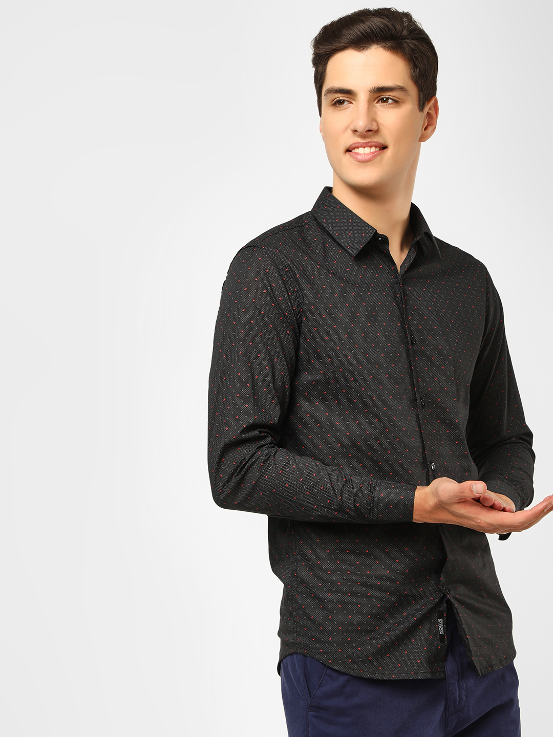 KOOVS Black Palm Dot Print Smart Shirt 1