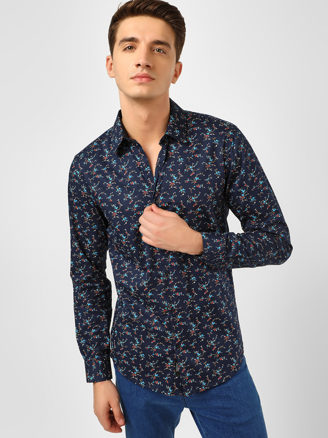 KOOVS Blue Abstract Floral Print Smart Shirt 1