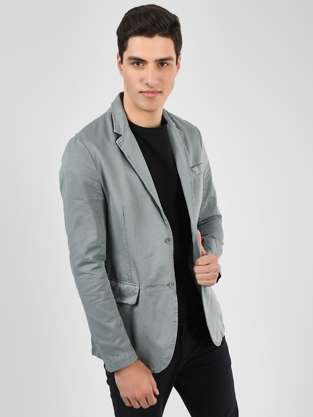 Blue Saint Grey Single Breasted Casual Twill Blazer 1