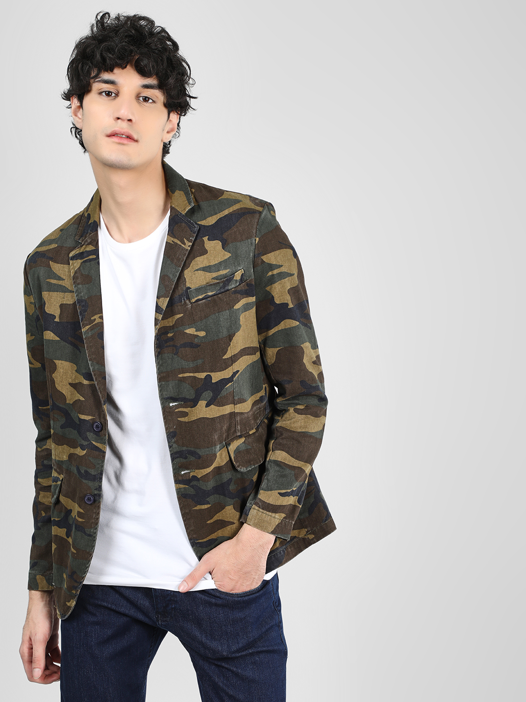 Blue Saint Green Camo Printed Slim Blazer 1
