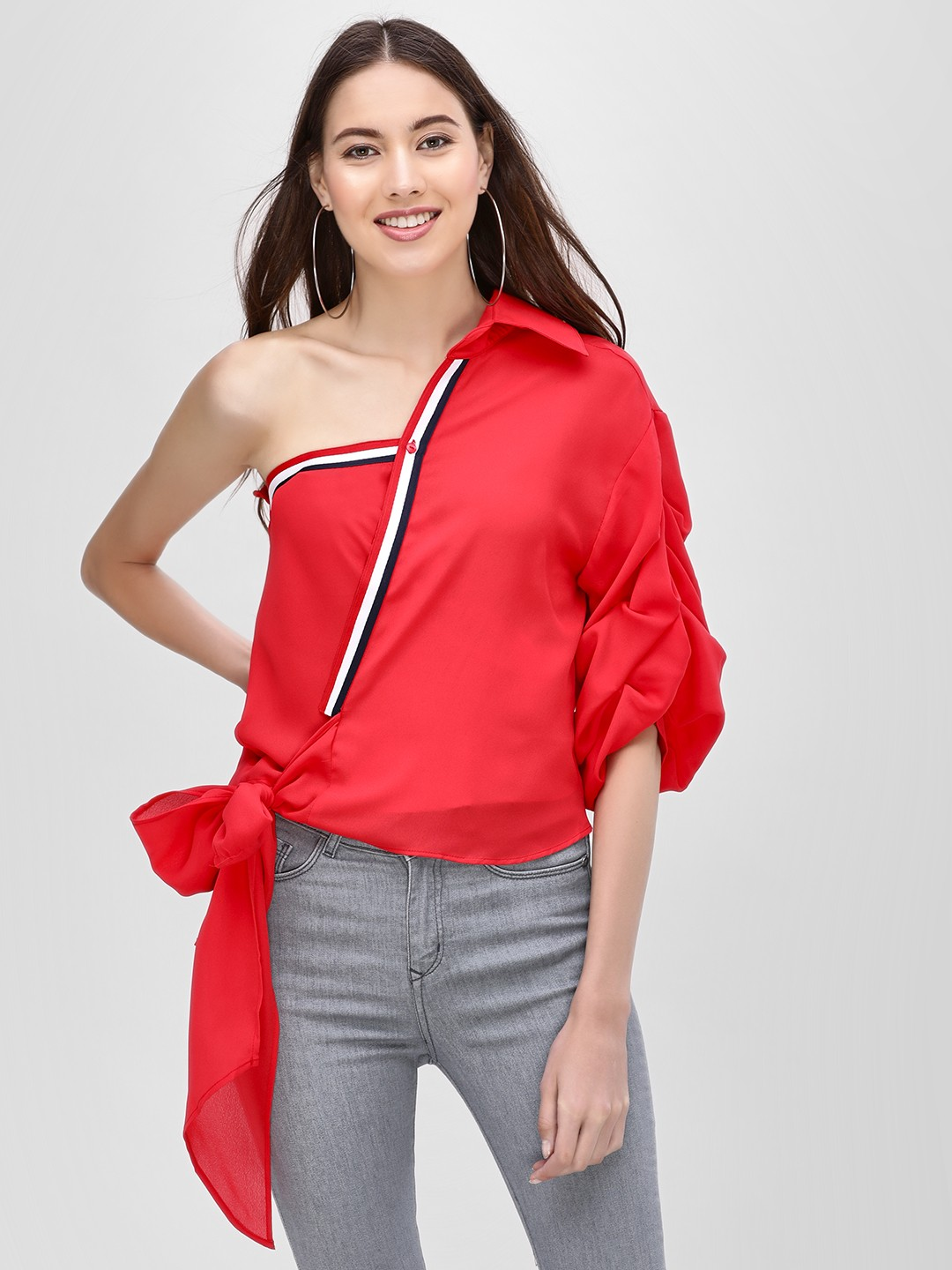 Ri-Dress Red One Shoulder Blouse With Stripe 1