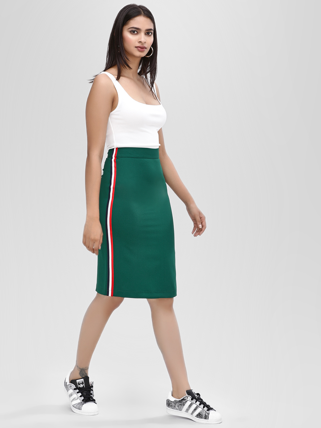 Ri-Dress Green Skirt With Side Stripe 1