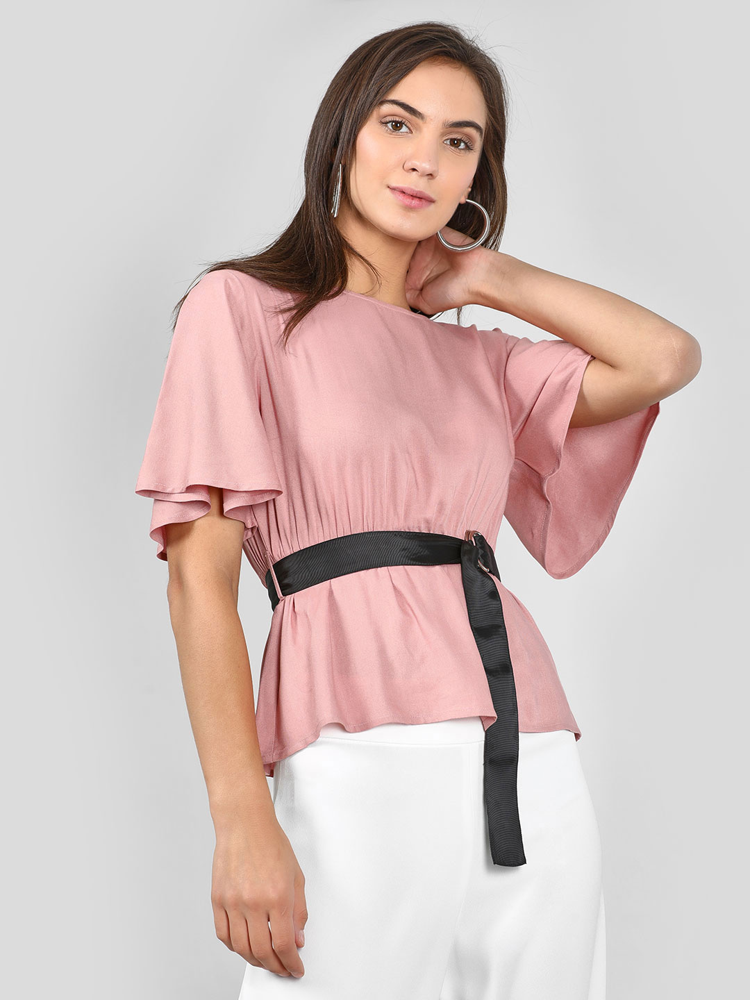 KOOVS Pink Belt Flared Sleeve Top 1