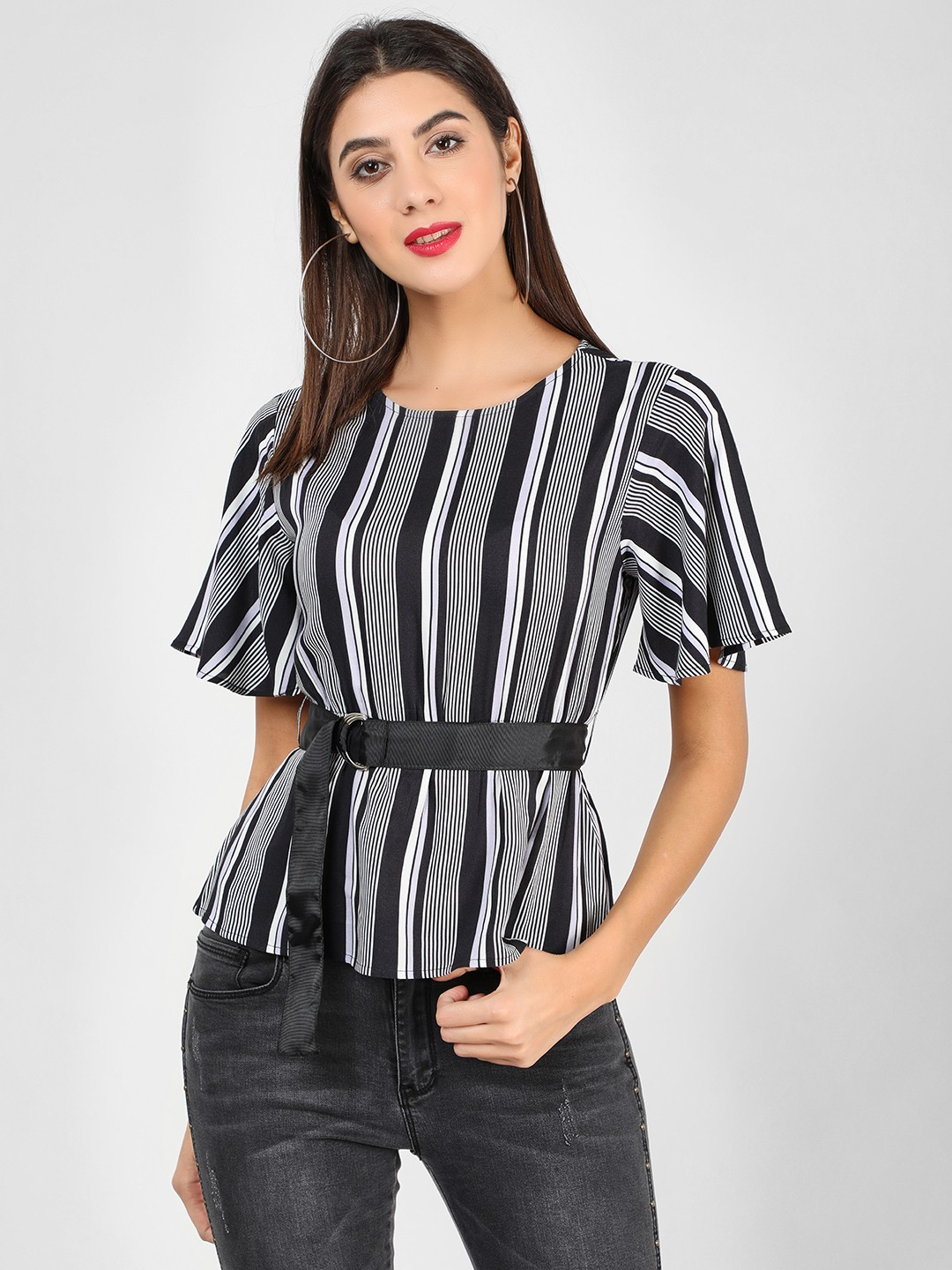 KOOVS Multi Belt Flared Sleeve Top 1