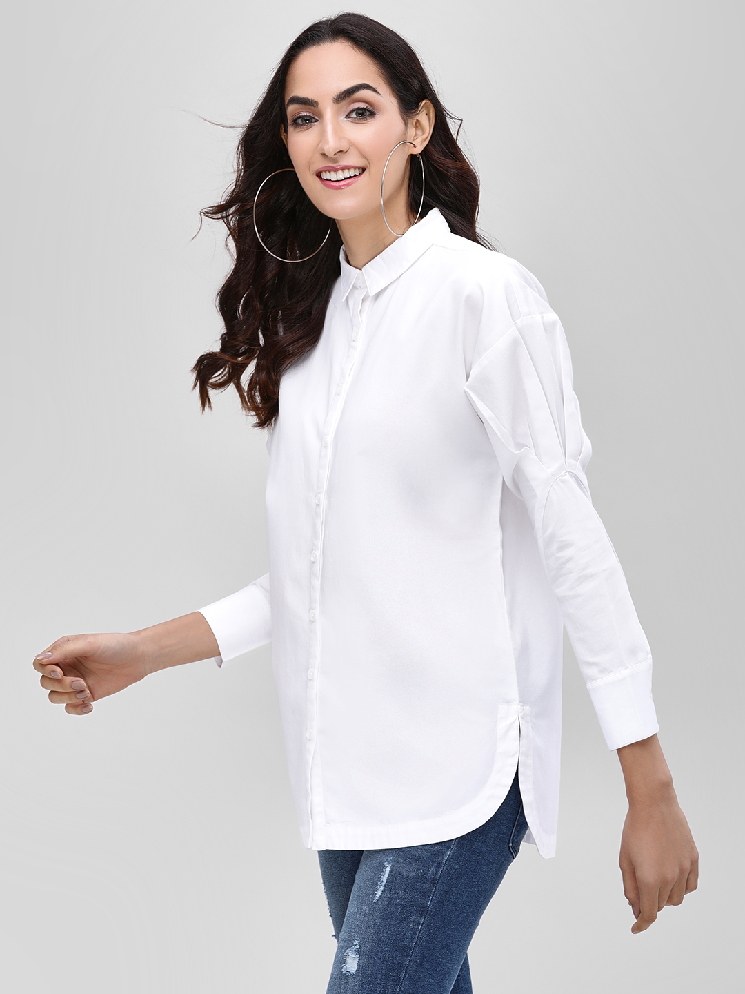 Bhaane White Pleated Sleeve High Low Shirt 1