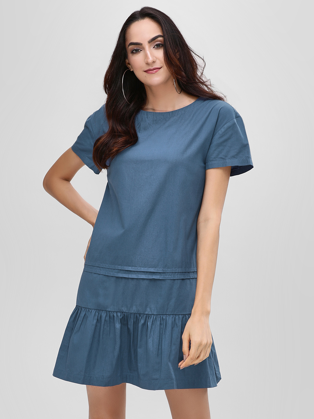 Bhaane BLUE/GREEN Holiday Dress With Frilled Hem 1