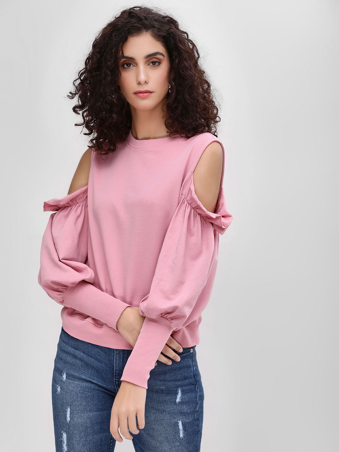 Sbuys Pink Cold Shoulder Mutton Sleeve Sweatshirt 1