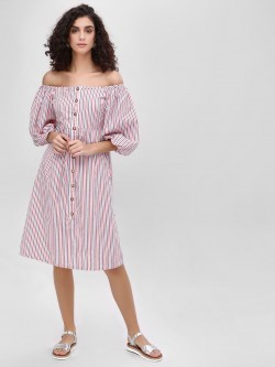 Sbuys Striped Button Off Shoulder Dress