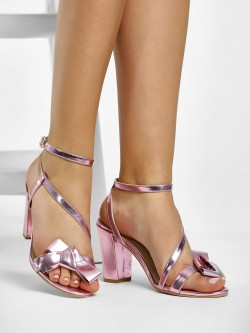KOOVS Metallic Block Heeled Sandals