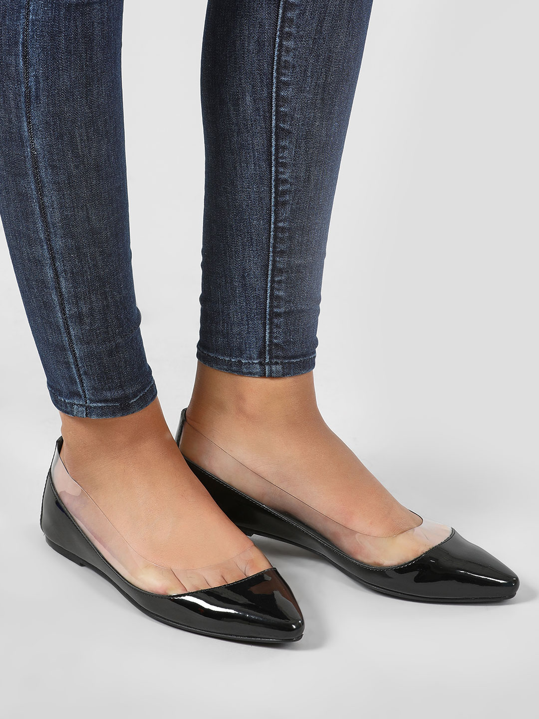 KOOVS Black Vinyl Ballet Flat Shoes 1