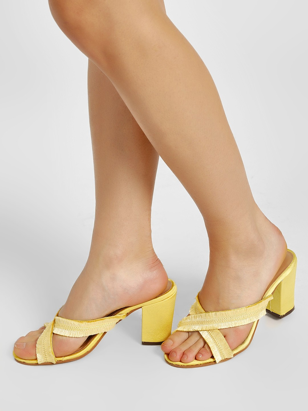 KOOVS Yellow Frayed Cross Strap Heeled Sandals 1