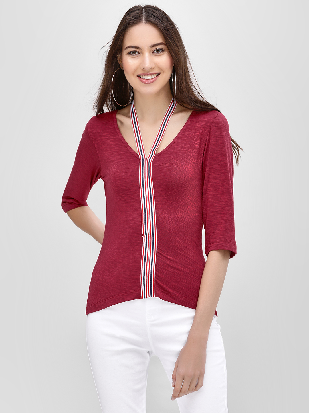 Ri-Dress Maroon Blouse With Contrast Detail 1