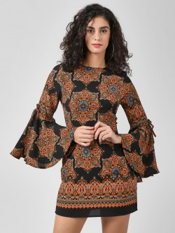 Ax Paris Baroque Print Bell Sleeve Bodycon Dress