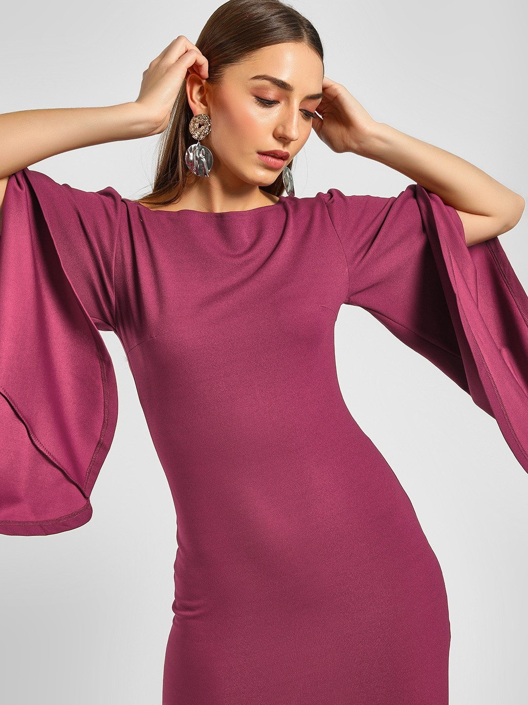 Ax Paris PLUM Flared Sleeves Dress 1