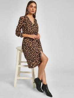 Ax Paris Animal Print Wrap Dress