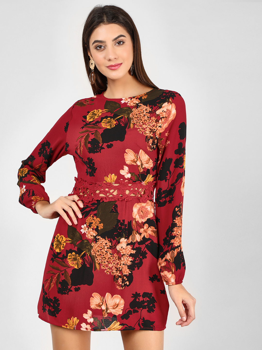 Ax Paris Wine Floral Printed Shift Dress 1