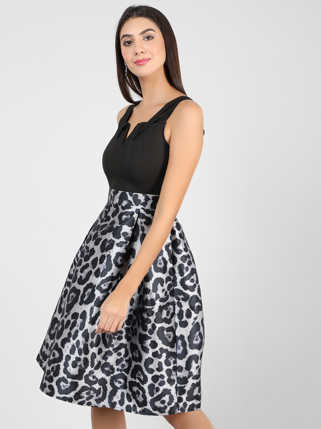 Ax Paris Black 2-In-1 Animal Print Skater Dress 1