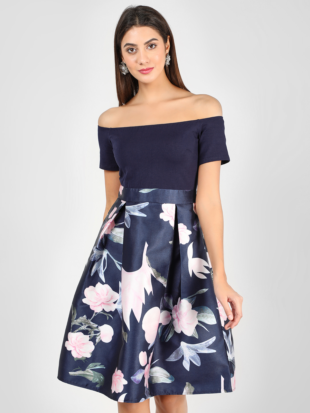 Ax Paris Navy Floral Print Off-Shoulder Skater Dress 1