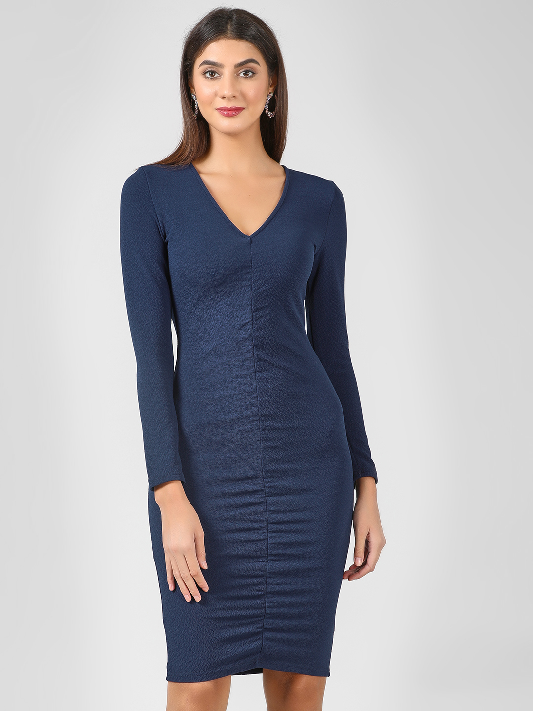 Ax Paris Navy Ruched Front Bodycon Dress 1