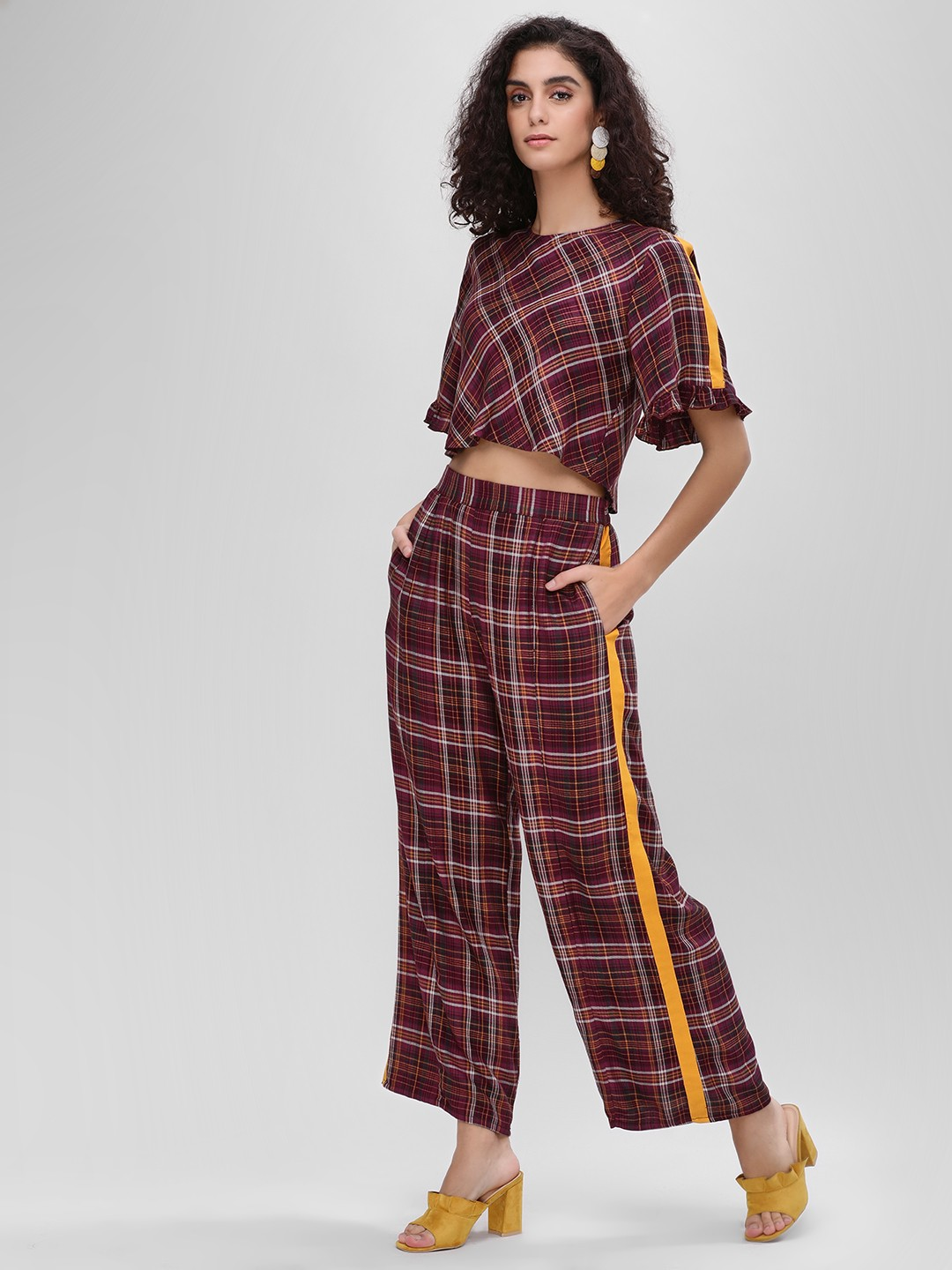 Ri-Dress Multi Side Tape Checkered Trousers 1