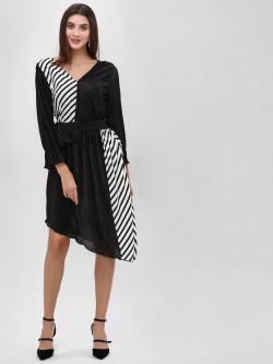 Ri-Dress Half Striped Pleated Asymmetric Dress