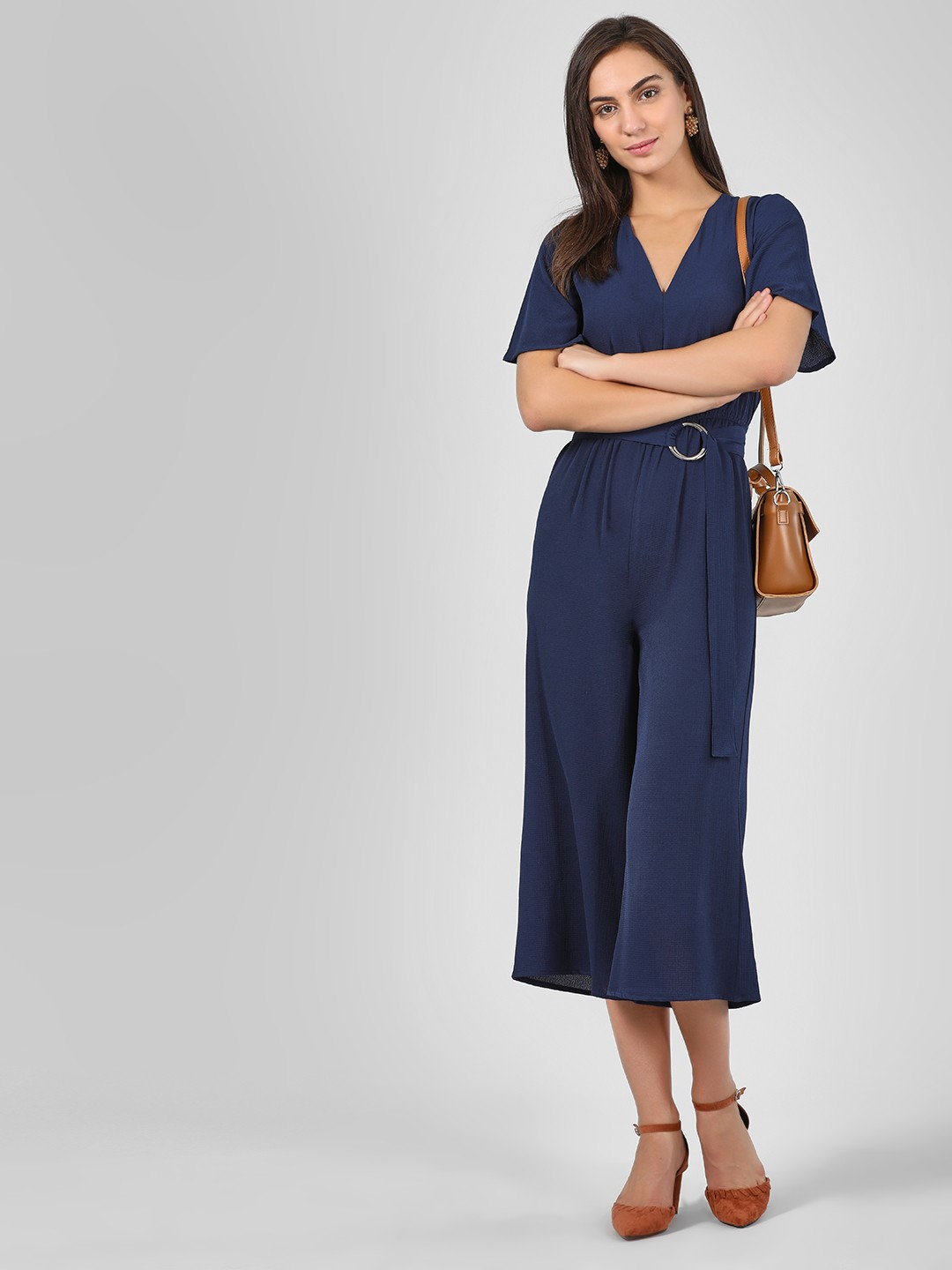 KOOVS Blue Collared Jumpsuit With Belt 1