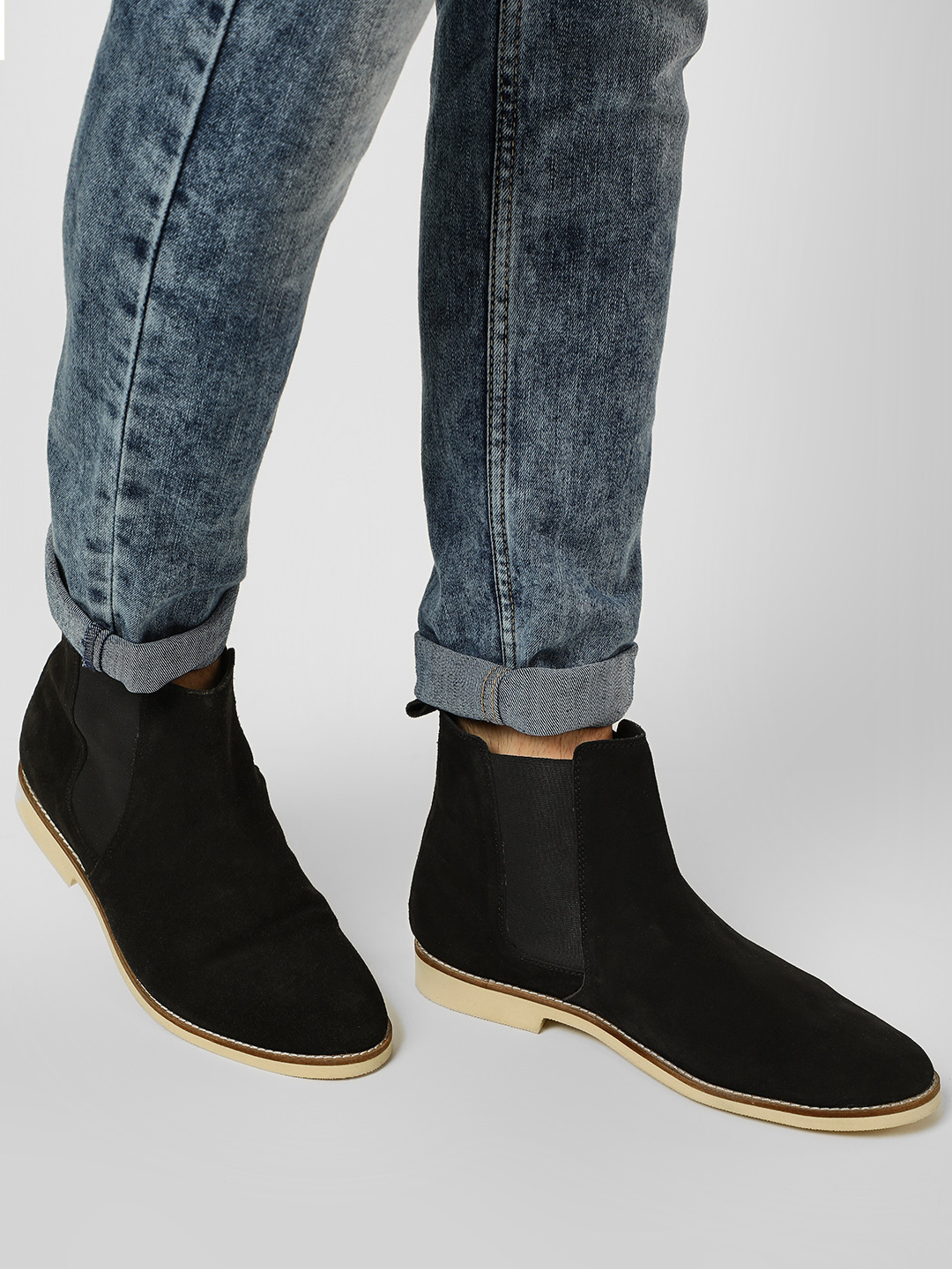 Griffin Black Suede Leather Chelsea Boots 1