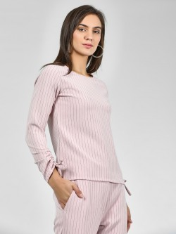 KOOVS Round Neck Vertical Stripe Top
