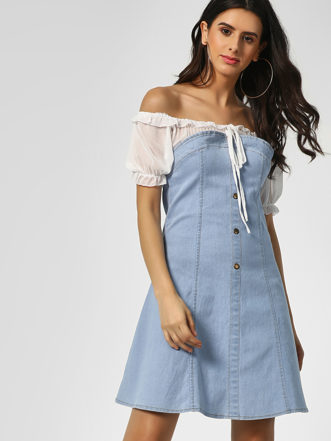 KOOVS Blue Ruffled Off-Shoulder Denim Dress 1
