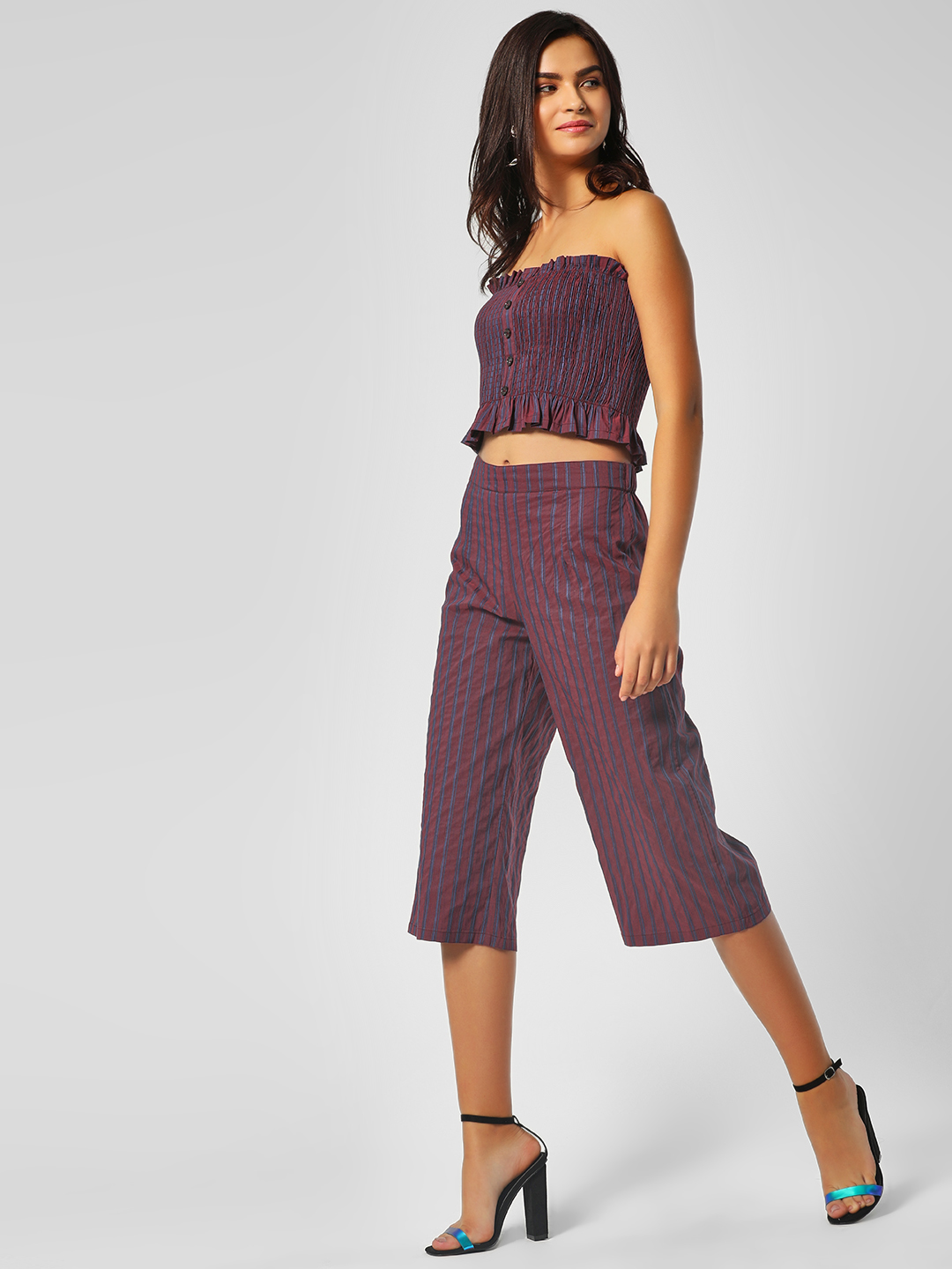 KOOVS Purple Striped High Waist Culottes 1