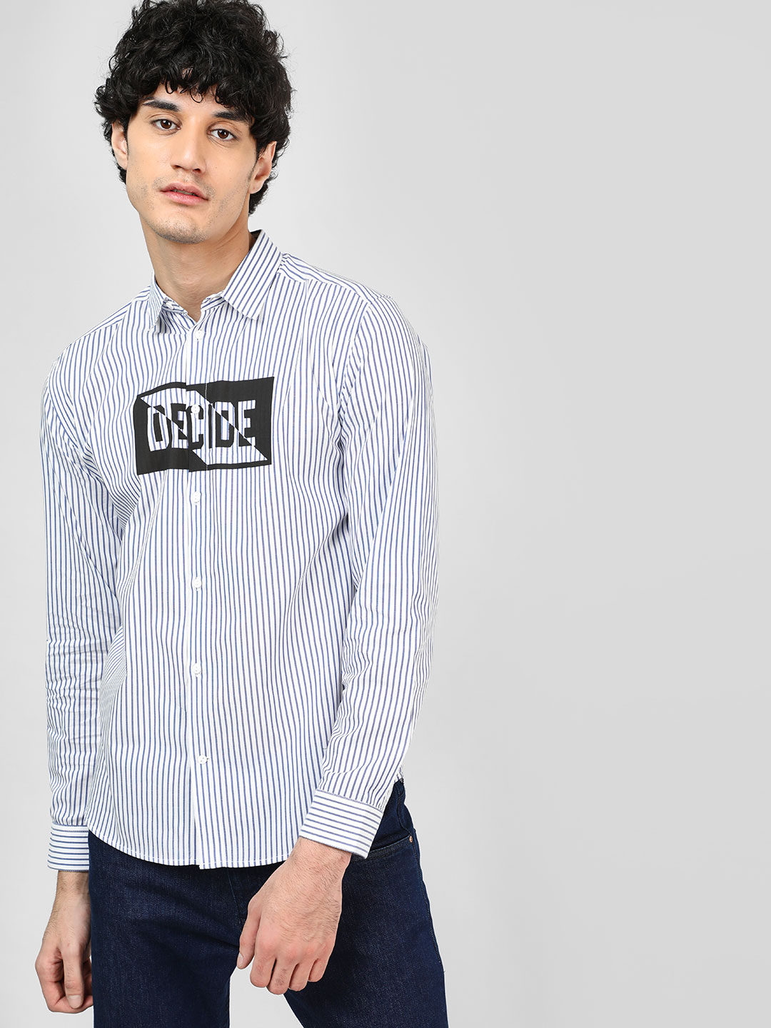 Bolt Of The Good Stuff White Slogan Print Striped Shirt 1